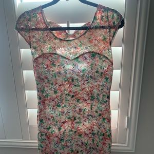 Floral dress with cap sleeve